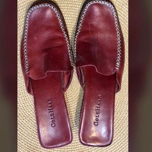 Cole Haan dk red leather wedge mule size 8b